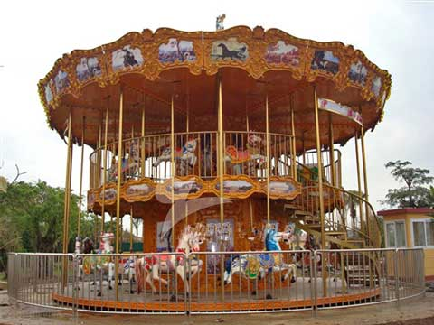 Double decker carousel for sale with 48 horses