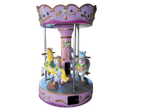 3 horse pink carousel for backyard